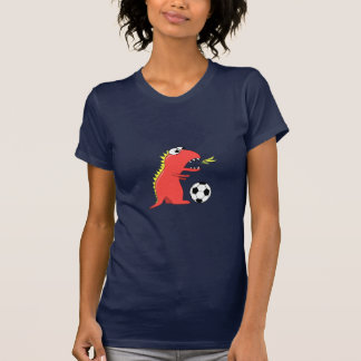 Funny Cartoon Dinosaur Playing Soccer Womens T-Shirt