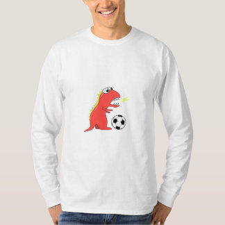 Funny Cartoon Dinosaur Soccer Male Long Sleeve T-Shirt