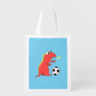 Funny Cartoon Dinosaur Soccer Reusable Grocery Bag