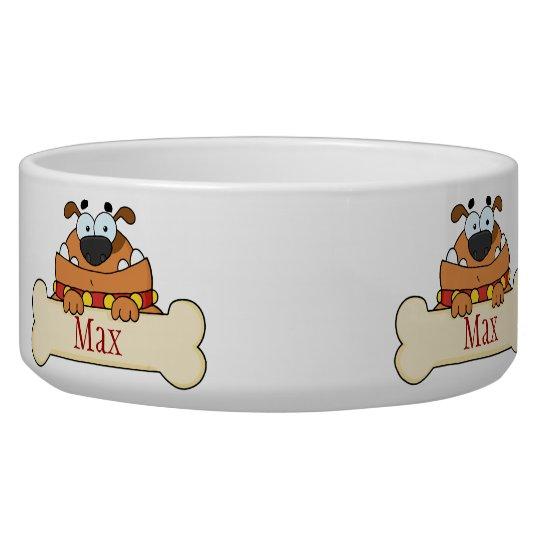 Funny Cartoon Dog Personalised Pet Bowl