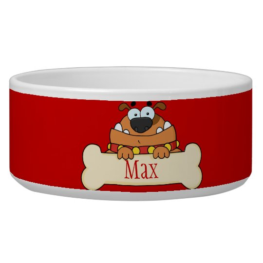 Funny Cartoon Dog Personalised Pet Bowl