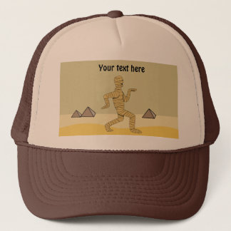 Funny Cartoon Egyptian Mummy Pyramids Custom Trucker Hat