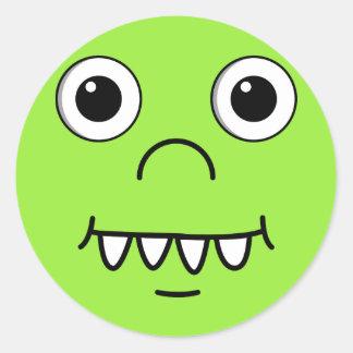 Funny Cartoon face Classic Round Sticker