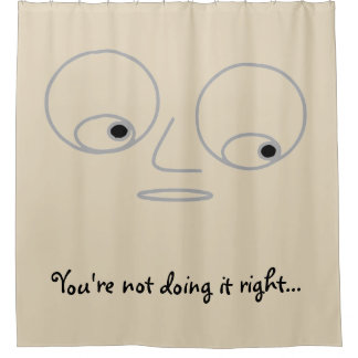 Funny Cartoon Face with Huge Eyes Shower Curtain