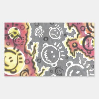 funny cartoon faces illustration rectangular sticker