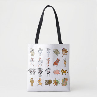 Funny cartoon farm animals. tote bag