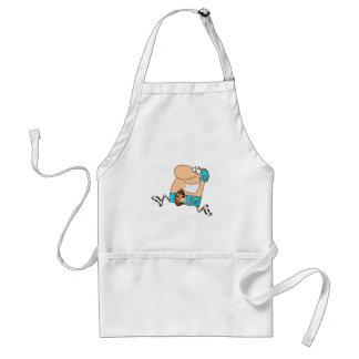 funny cartoon football player running aqua apron