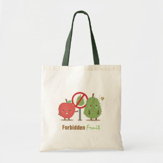 Funny Cartoon, Forbidden Fruit, Apple and Durian Budget Tote Bag