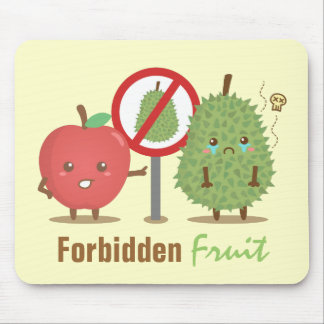 Funny Cartoon, Forbidden Fruit, Apple and Durian Mouse Mat