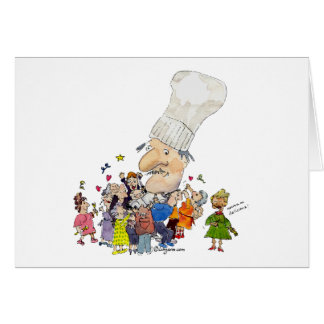 Funny Cartoon French Chef Greeting Card