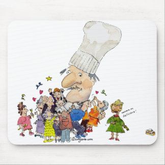 Funny Cartoon French Chef Mouse Mat