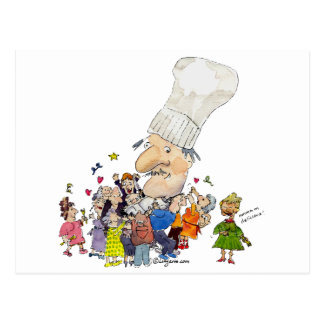 Funny Cartoon French Chef Postcard