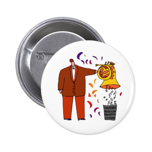 Funny Cartoon French Horn Button