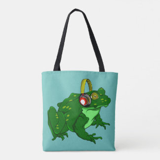 Funny Cartoon Frog  Listening to Headphones Tote Bag