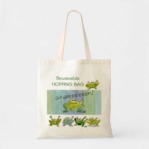 Funny Cartoon Frogs Go Green Tote Bag