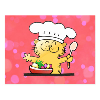 Funny Cartoon Funny Kitty Chef Post Cards
