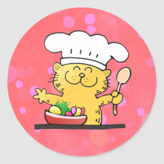 Funny Cartoon | Funny Kitty Chef Round Sticker