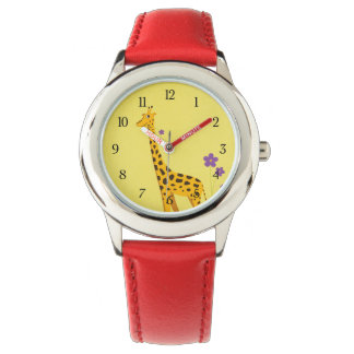 Funny Cartoon Giraffe Roller Skating Kids Wrist Watches