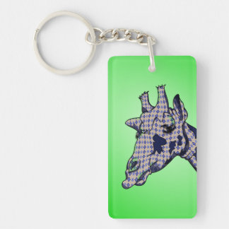 Funny Cartoon Giraffe With Patterned Skin Double-Sided Rectangular Acrylic Key Ring