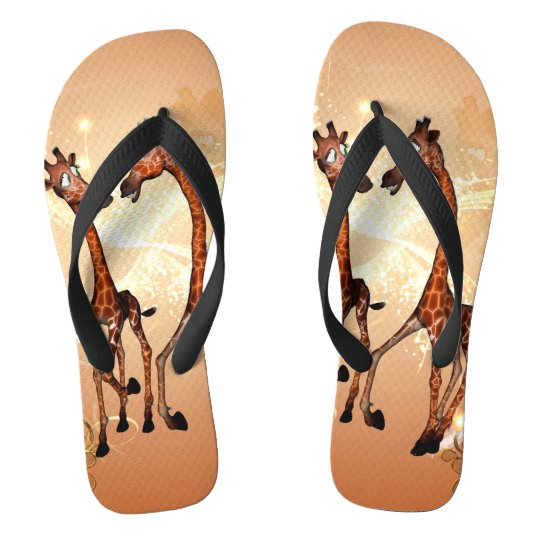 Funny cartoon giraffes flip flops