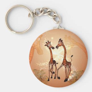 Funny cartoon giraffes basic round button keychain