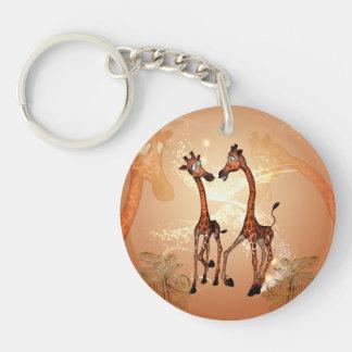 Funny cartoon giraffes Single-Sided round acrylic keychain