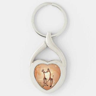 Funny cartoon giraffes Silver-Colored Heart-Shaped metal keychain