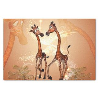 Funny cartoon giraffes tissue paper