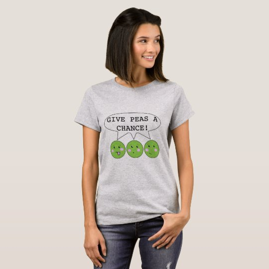 Funny Cartoon 'Give peas a chance' pun T-Shirt
