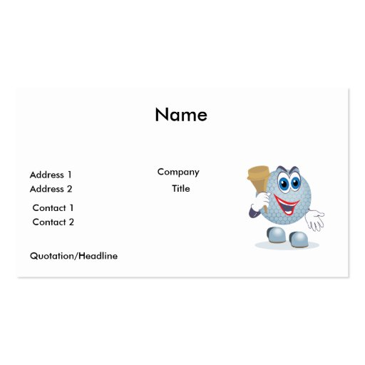 funny cartoon golf ball character business card template