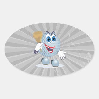 funny cartoon golf ball character oval sticker