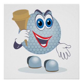 funny cartoon golf ball character poster