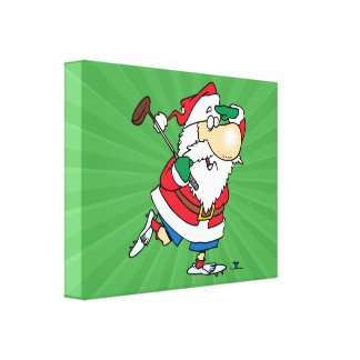 funny cartoon golfing golfer santa claus gallery wrap canvas