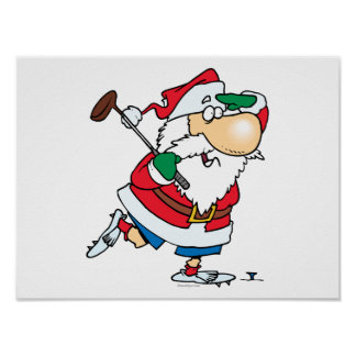 funny cartoon golfing golfer santa claus posters