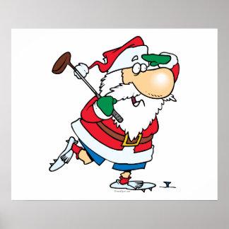 funny cartoon golfing golfer santa claus poster