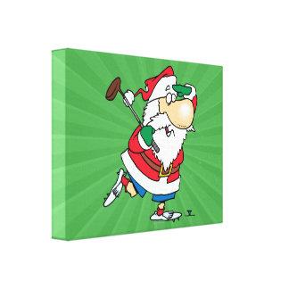 funny cartoon golfing golfer santa claus stretched canvas print
