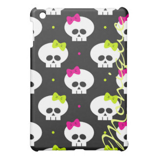funny cartoon halloween skulls with name case for the iPad mini