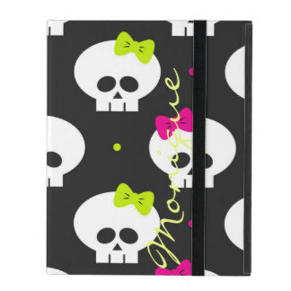 funny cartoon halloween skulls with name iPad cover