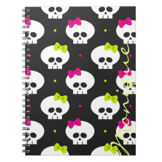 funny cartoon halloween skulls with name notebook