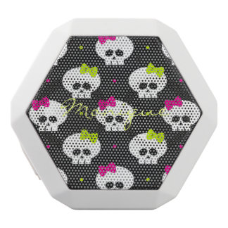 funny cartoon halloween skulls with name white bluetooth speaker