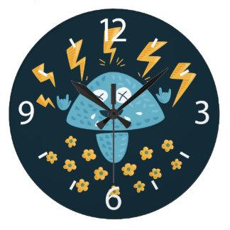 Funny Cartoon Heavy Metal Music Mushroom Large Clock