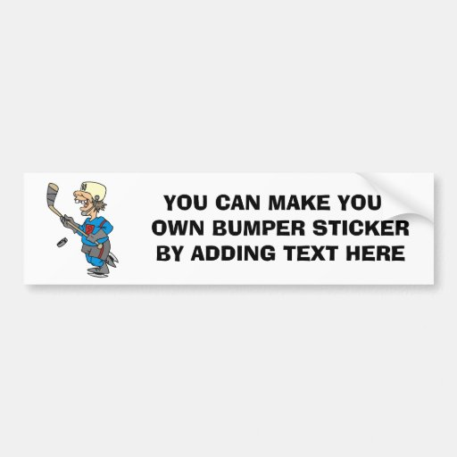 Funny Cartoon Hockey Player T-shirts and Gifts Bumper Sticker
