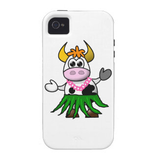 Funny cartoon hula cow vibe iPhone 4 cover