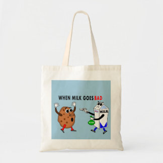 funny cartoon image milk and cookie tote bag