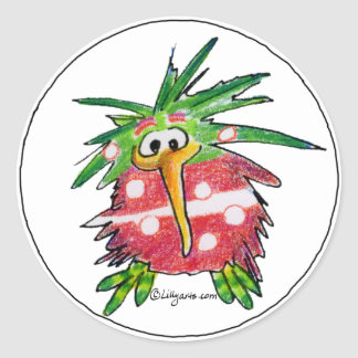 Funny Cartoon Kiwi Bird Round Sticker