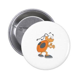 funny cartoon ladybug 6 cm round badge