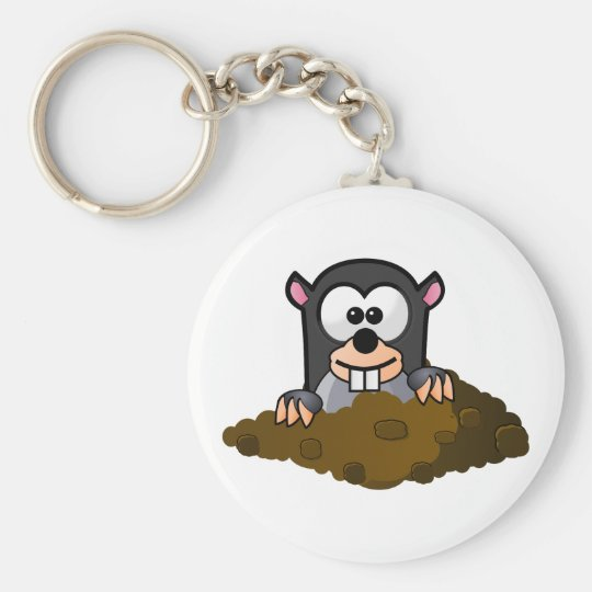 Funny cartoon mole key ring