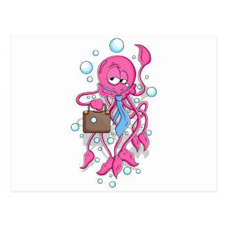 Funny Cartoon Octopus Postcard