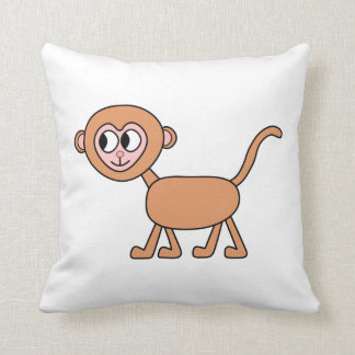 Funny Cartoon of a Monkey. Throw Pillow