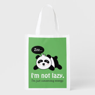 Funny Cartoon of Cute Sleeping Panda Reusable Grocery Bag